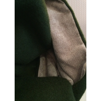 Echarpe cachemire à franges double face verte et velours beige