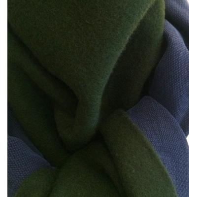 Echarpe cachemire à franges double face verte et marine
