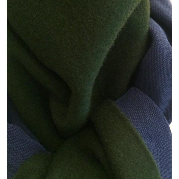 Echarpe cachemire avec franges verte et marine