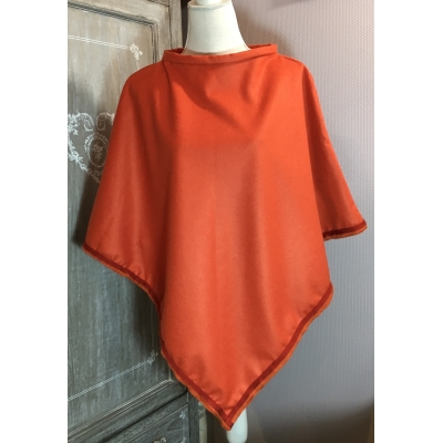 poncho cachemire orange brique