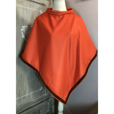 poncho cachemire orange brique daim brun