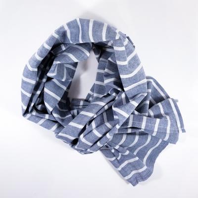 Echarpe Chèche coton oxford bleu