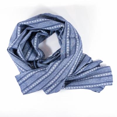 Echarpe Chèche coton oxford bleu chevron