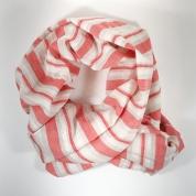 Echarpe Chèche coton rouge et crème