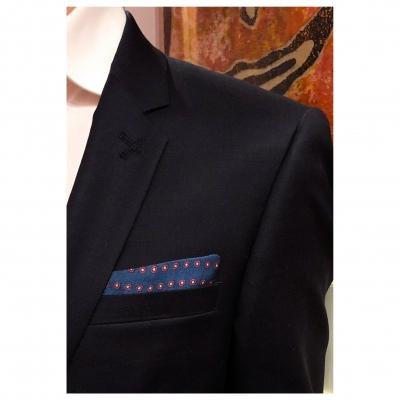 Pochettes costume - Soie bleu et pois rouge