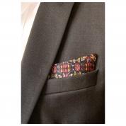 Pochettes costume - Soie motifs fuschia, jaune bleu