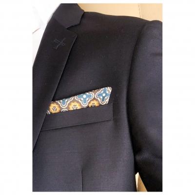 Pochettes costume - Soie jaune et bleu