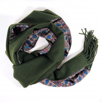 Echarpe cachemire vert doncé doublure soie