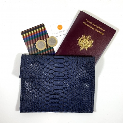 porte monnaie simili cuir bleu