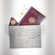 Porte monnaie, passeport, carte identité, simili cuir python gris