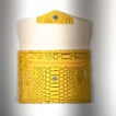 Porte monnaie, passeport, carte identité, simili cuir python jaune