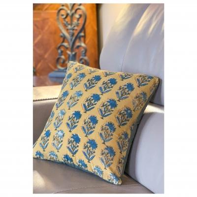 Coussin Motifs Indien blockprint jaune moutarde safran chardon bleu denim