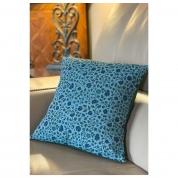 Coussin Motifs Indien blockprint denim bleu feuillage vert