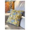 Coussin Indien blockprint jaune safran gris