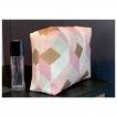 Trousse de Toilette en coton geometrique rose et bronze
