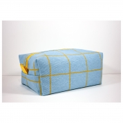 Trousse de Toilette homme rectangle - coton ciel et jaune