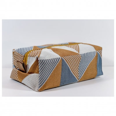 Trousse de Toilette homme rectangle - jacquard bronze et ardoise