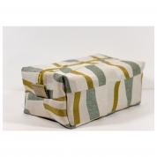 Trousse de Toilette homme rectangle - jacquard moutarde  crème vert d'eau