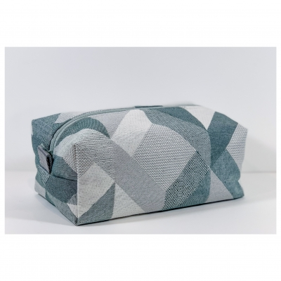 Trousse de Toilette homme rectangle - jacquard vert de gris