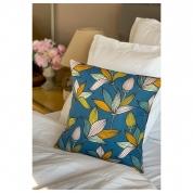 HOUSSE de coussin Motifs feuillages bleu canard jaune vert