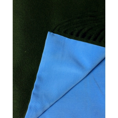 Écharpe cachemire à franges - verte - double face - ciel